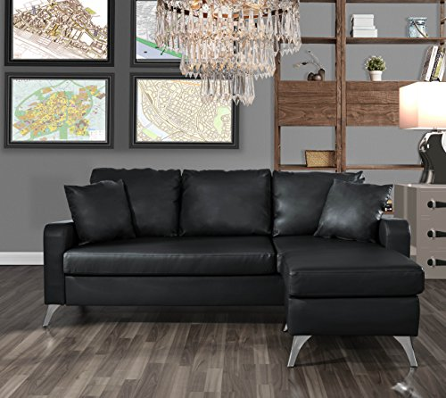 Divano Roma Furniture Bonded Leather Sectional Sofa - Small