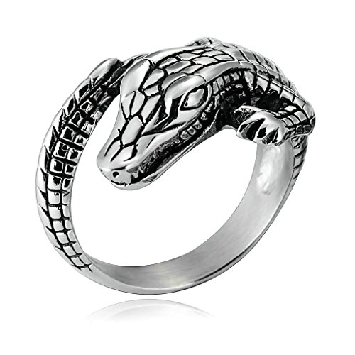 Aooaz Jewelry Mens Stainless Steel Ring Ring Vintage Unique Alligator Shape Punk Biker Ring Size  26