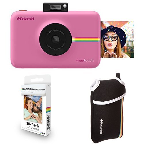 Polaroid Snap Touch Instant Print Digital Camera With LCD Display (Pink) with Zink Zero Ink Printing Technology w/ Starter Kit, ZINK Paper (30 Sheets), and Neoprene Protective Pouch