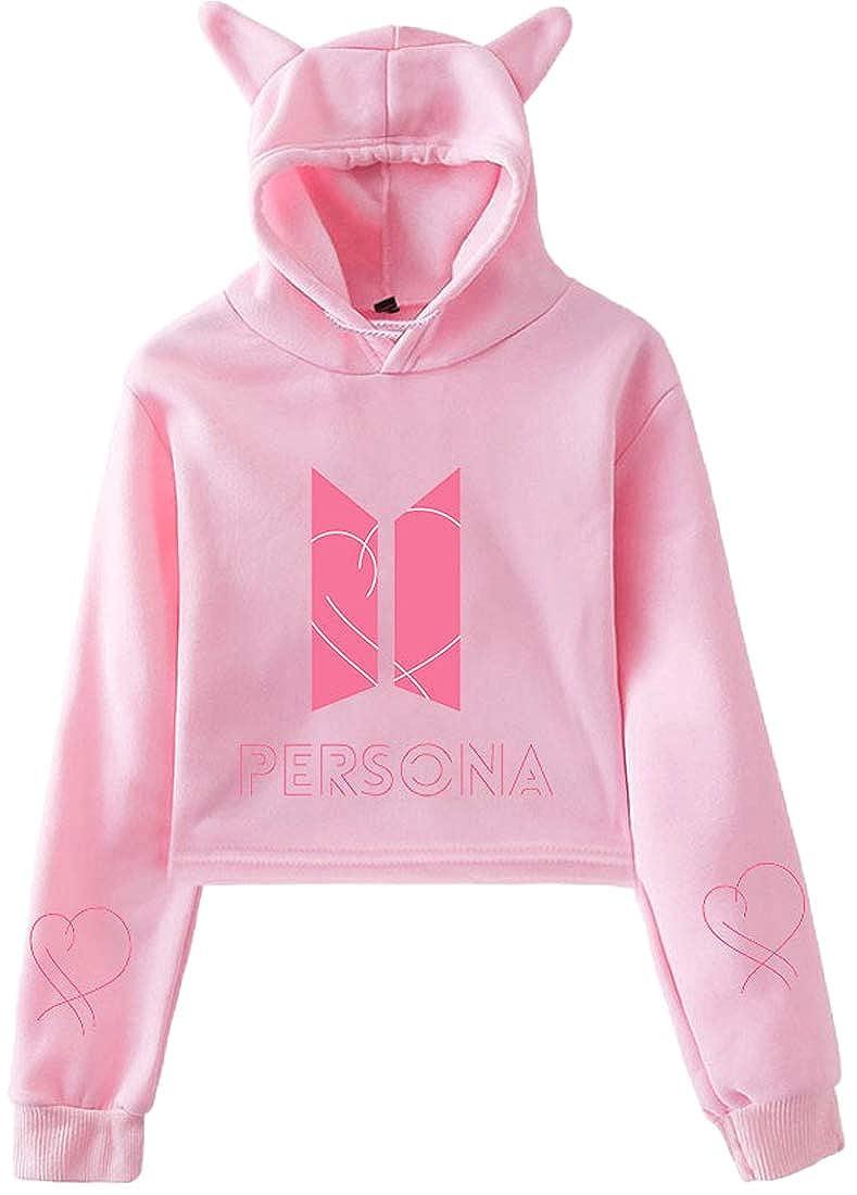 OLIPHEE Womens BTS Persona Cat Ear Hoodie Fashion Long Sleeve Pullover Sweatshirt