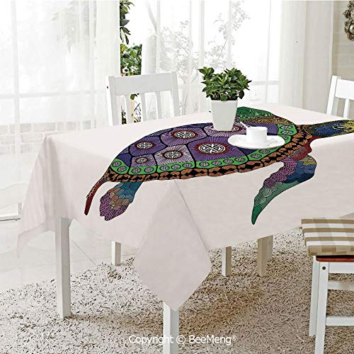 BeeMeng Dining Kitchen Polyester dust-Proof Table Cover,Sea Turtle with Colorful Ornamental Tattoos on Animal Art Work,Purple Orange Pink59 x 59 inches