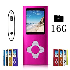 G.G.Martinsen MP3/MP4 Player with a 16GB Micro SD card, Mini USB Port 1.8 LCD, Digital Music Player, Video / Media Player, MP3 Player, MP4 Player, Support Photo Viewer, Recorder & FM Radio - Pink