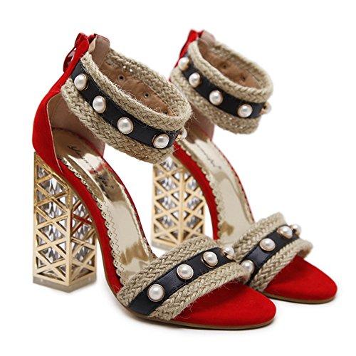 Noir Toe Parti Mariée Hauts Rouge Talons Wild Nouvelles Taille À Trend U Casual Color Sandales De Peep Femmes Sexy Chaussures Mariage 2018 qYacUc