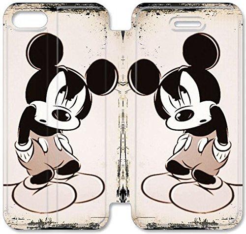 Flip étui en cuir PU Stand pour Coque iPhone 5 5S, bricolage 5 5S Cas de téléphone portable Disney Mickey Mouse Minnie Mouse 6 F1R9ZV Coque iPhone étuis en cuir Mode