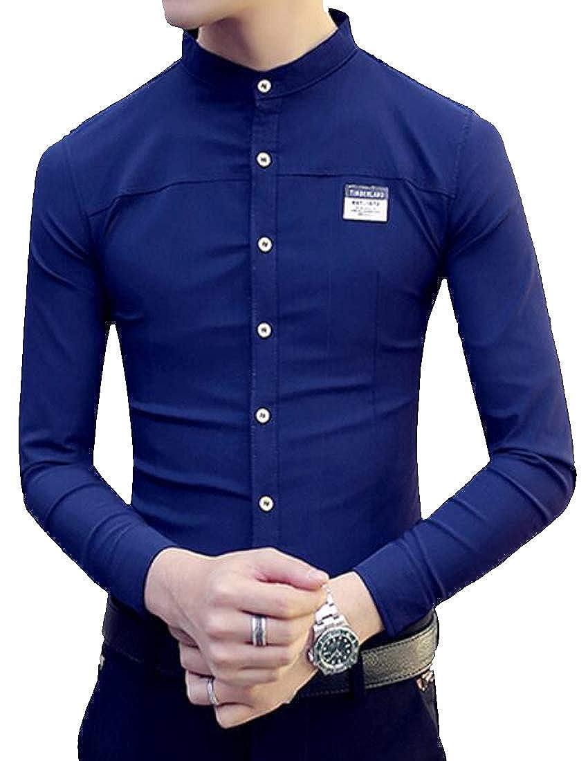 ARTFFEL Mens Long Sleeve Fashion Formal Slim Fit Mandarin Collar Button Down Blouse Shirt