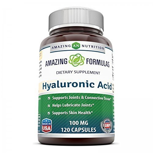 Support Formula 120 Capsules (Amazing Formulas Hyaluronic Acid 100 mg 120 Capsules - Support healthy connective tissue and joints - Promote youthful healthy skin)