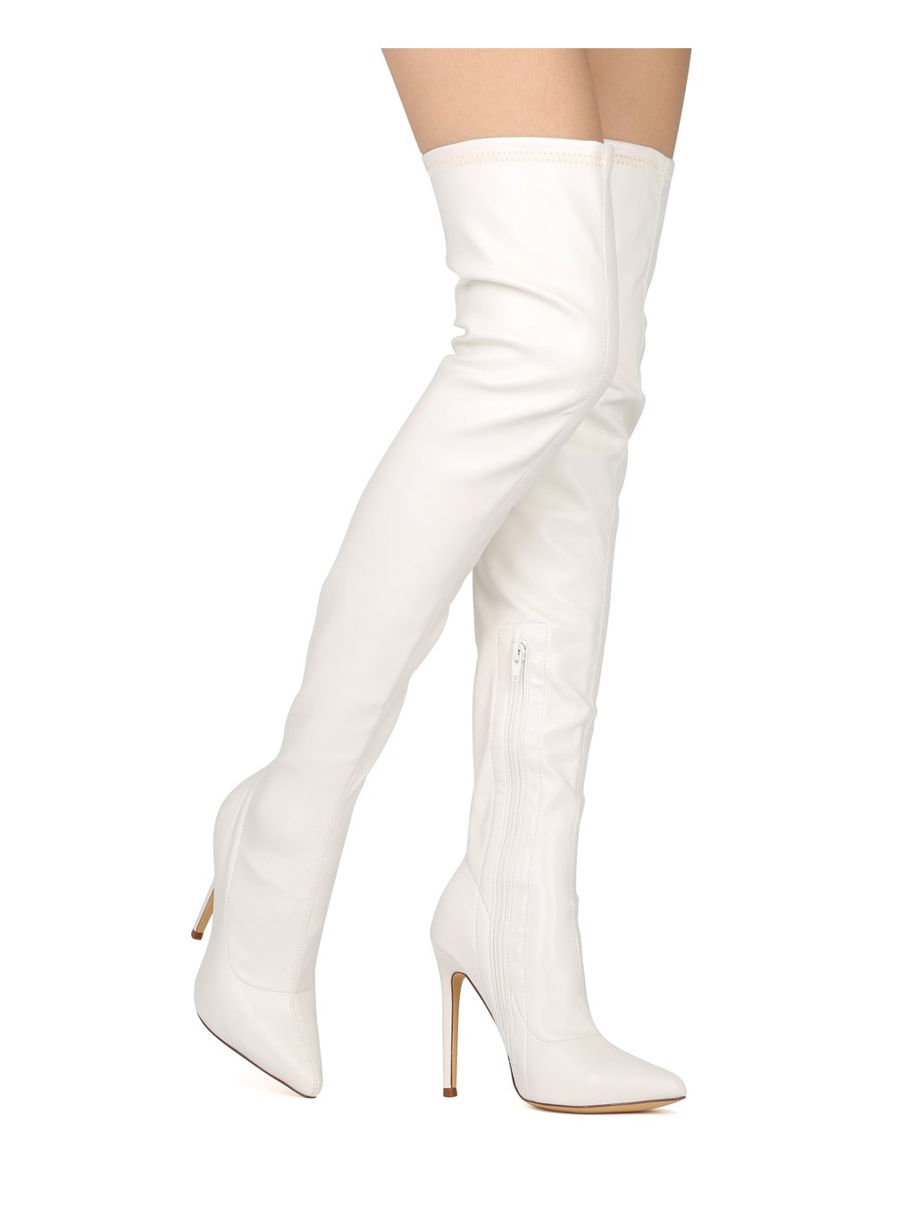 Liliana Women Thigh High Pointy Toe Stiletto Boot HE09 - White Leatherette (Size: 6.0)