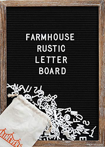 Felt Letter Board with 12x17 Inch Rustic Wood Frame, Script Words, Precut Letters, Picture Hangers, Farmhouse Wall Decor, Shabby Chic Vintage Decor, Black Felt Message Board (Vintage Hanger Black)