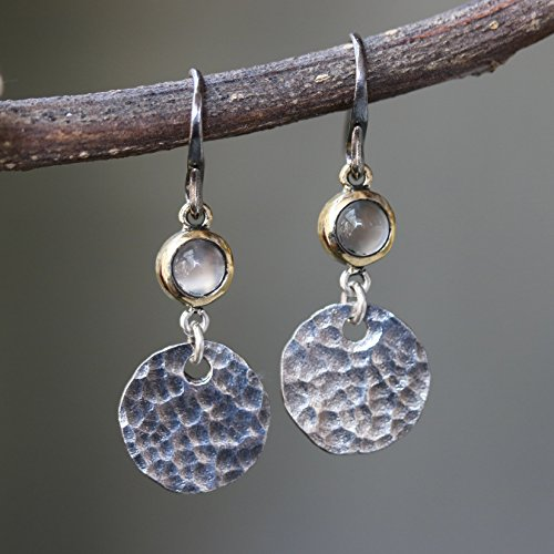 Round cabochon moonstone earrings in brass bezel setting with circle silver hammer textured and oxidized sterling silver hooks