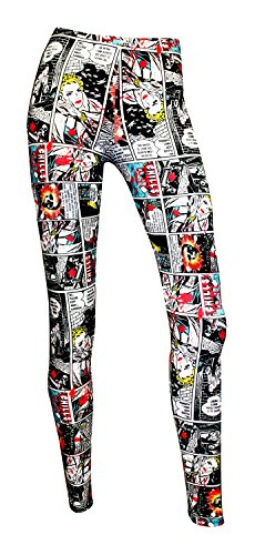 Comic Strip Book Retro Classic Print Leggings (S/M)
