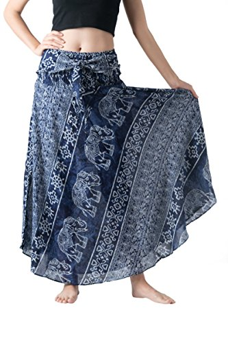 Bangkokpants Women's Long Bohemian Hippie Skirt Boho Dresses Gypsy Clothes Elephant One Size Asymmetric Hem Design (Ancient Elephant Blue, One Size) by Bangkokpants