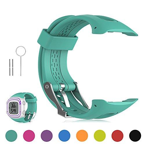 Feskio Garmin Forerunner 10 / Forerunner 15 GPS Running Watch Replacement Band Soft Silicone Replacement Wrist Watch Strap for Garmin Forerunner 10/Forerunner 15 GPS Running Watch (Small/Large Size) ()