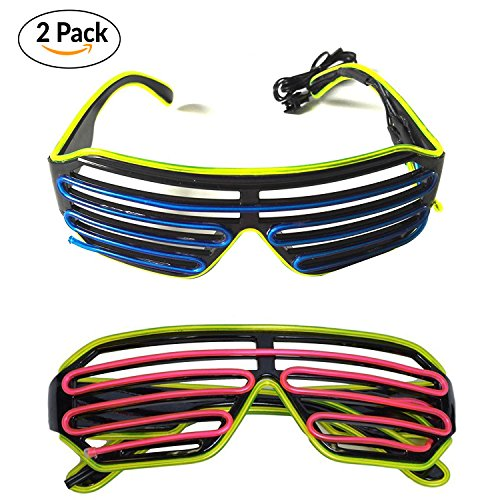 Costume Glasses (2 PCS) by Toysnmore EL Wire Neon Led Glasses Light Up Costumes For Party (Green/Blue + (Light Up Wire)