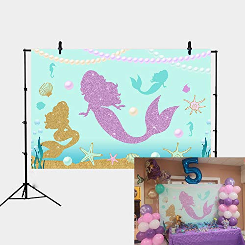 - Daniu 7x5FT Under The Sea Little Mermaid Backdrop Purple Mermaid Birthday Party Seashells Ocean Party Background Girls Birthday Decor Baby Showers Banner Photography Studio Photo Booth Props