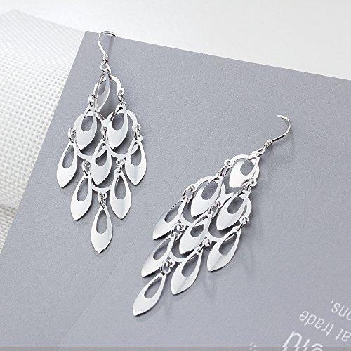 Kalapure Water Drop Tassel Earring, Sterling Silver Teardrop Dangle Earrings Best Gift for Women Mom by Kalapure (Image #2)