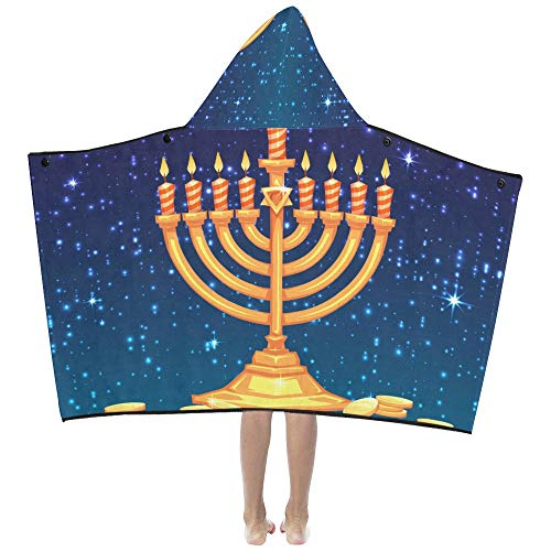 Greeting Happy Hanukkah Celebration Soft Warm Cotton Blended Kids Dress Up Hooded Wearable Blanket Bath Towels Throw Wrap for Toddlers Child Girls Boys Size Home Travel Picnic Sleep Gifts Beach
