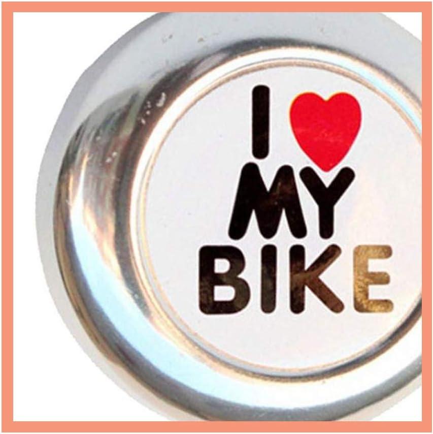 KOOBOOK 2Pcs Cute Bicycle Cycling Ring Bell Heart Alarm Bike Metal Handlebar Horn I Love My Bike