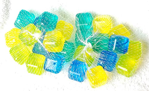 Reusable Plastic Ice Cubes in Bright Vibrant Colors ~ Set of 24 One (1) Inch Square Cubes]()