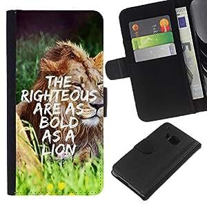 EJOY---La carpeta del tirón la caja de cuero de alta calidad de la PU Caso protector / HTC One M7 / --BIBLIA Proverbio 28: 1 el justo está confiado como un león
