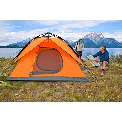Outdoor Waterproof Automatic 3-4-Person Double Layer Camping Family Tents SY (orange) (Quest Sport Dome Canopy compare prices)