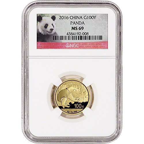 - 2016 CN China Gold Panda (8 g) Red Panda Label 100 Yuan MS69 NGC