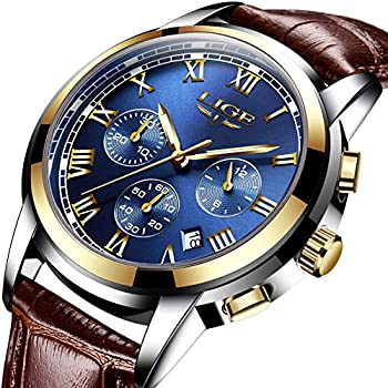 Mens Watches Waterproof Business Dress Analog Quartz Watch Men Luxury Brand LIGE Date Sport Brown Leather Clock