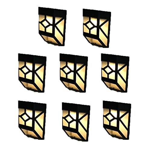 Baoblaze 8pcs Solar Powered Wall Light House Outdoor Landscape Garden Fence Lamp for Front Door, Back Yard, Driveway, Garage (Warm White) by Baoblaze