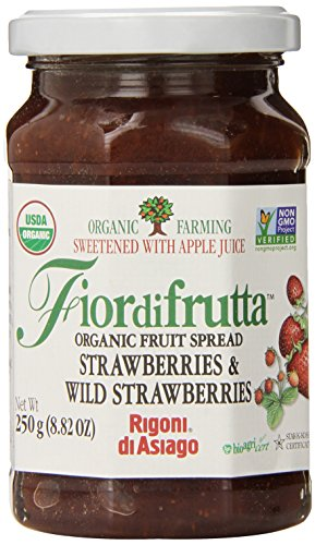 Rigoni Di Asiago Fiordifrutta Organic Fruit Spread,  Strawberry,  8.82 Ounce, (Pack of 6)