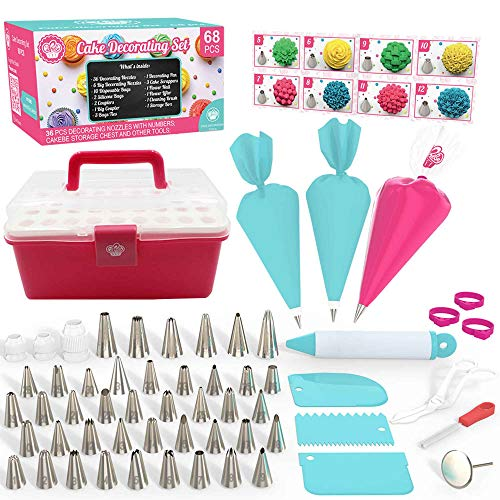 Cake Decorating Kit Cupcake Decorating Kit - 68pcs Cookie Decorating Supplies and Cookie Decorating Kit with Piping Bags and Tips - Frosting Icing Tips Pastry Bags with Tips - Baking Decorating Kit -