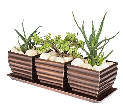 H Potter Window Box Planter Pots with Tray Outdoor Indoor Succulent Flower Herb Box for Home, Patio, Garden, Deck, Balcony – Antique Copper Finish ()