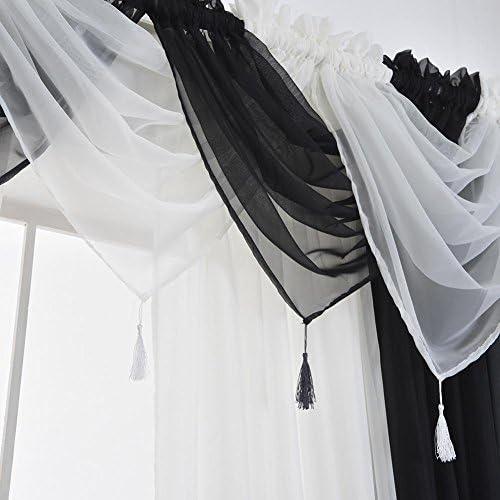 Whitelotous Tassel Curtain Valance Washable Soft Voile Gauze Hanging Shading Curtain Window Treatment Valance17.72 x 17.72 White