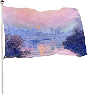 yyone Flags,Home Decoe,Garden Decor,Claude Monet Sunset On The Seine at Lavacourt Winters,Outdoor Decor,Outdoor Flag,Sign Flag