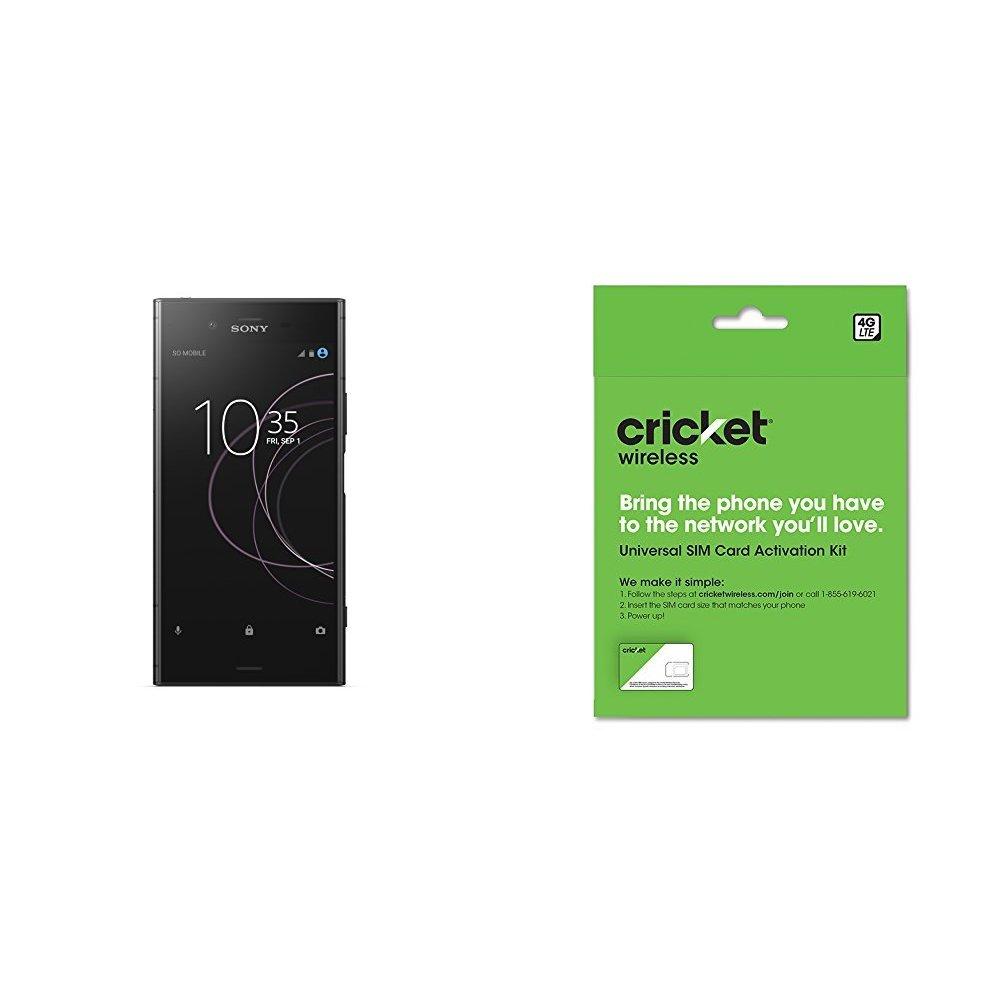 Sony Xperia XZ1 Factory Unlocked Phone - 5.2'' Full HD HDR Display - 64GB - Black  (U.S. Warranty) and Cricket Wireless BYOD Prepaid SIM Card