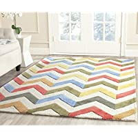 Safavieh Cambridge Collection CAM580D Handcrafted Moroccan Geometric Ivory and Multi Premium Wool Area Rug (4 x 6)