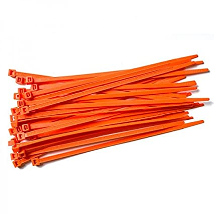 00b5ce9581b8 100 Pack of Orange Cable Ties - 300mm x 4.8mm - High Quality Strong Nylon  Zip Ties by Gocableties: Amazon.co.uk: DIY & Tools