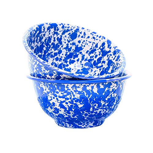 Enamelware Small Footed Bowl, 16 Oz, Blue Marble