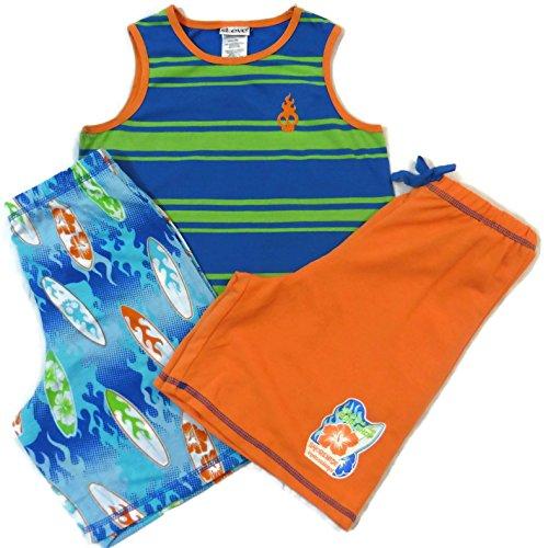 St. Eve Boys 3pc Surf Board Flame Resistant Sleepwear Blue/Green/Orange XS 6