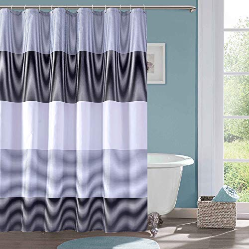 Julifo Shower Curtain Black and Grey Polyester Fabric Bathroom Curtain Waterproof Thick Shower Curtains,72 X 72 INCH (Black & Grey) (Shower Bathroom Grey Curtains)
