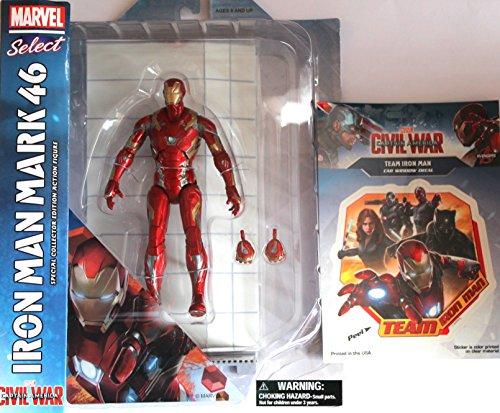 Diamond Select Toys Marvel Select: Captain America: Civil War: Iron Man Mark 46 Action Figure Bundle includes Team Iron Man Vinyl Window Decal Sticker