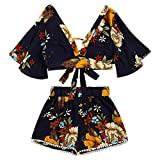 TOPUNDER Casual Women Shirt Set Botanical Print Summer V Collar Top Shorts Beachwear by