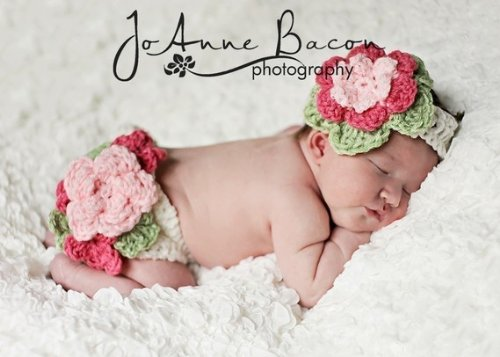 Crochet Pattern 132 Fancy Flower Diaper Cover And Headband Set 4