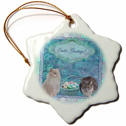 3dRose Beverly Turner Easter Design and Photography - Kitty Cats with Easter Basket of Eggs on Musical Sheet Background, Aqua - 3 inch Snowflake Porcelain Ornament ()
