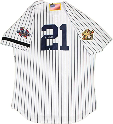 MLB New York Yankees Paul O'Neill Signed Jersey with 2001 WS Patch AL 100th Patches USA Flag and Armband