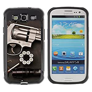 SHIMIN CAO@ Gun Revolver Clean Pistol War Bullets Rugged Hybrid Armor Slim Protection Case Cover Shell For S3 Case ,I9300 Case Cover ,I9308 case ,Leather for S3 ,S3 Leather Cover Case