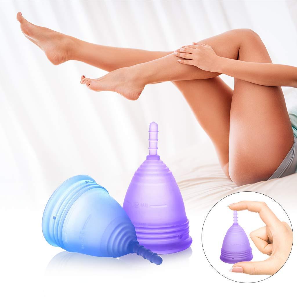 Luvkis copa menstrual reutilizable para mujeres y niñas 2pcs conjunto alternativa de silicona lavable para protección femenina higiénica toallas y tampones ...