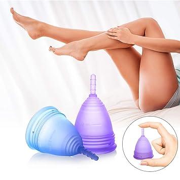 Luvkis copa menstrual reutilizable para mujeres y niñas 2pcs conjunto alternativa de silicona lavable para protección