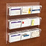 Displays2go Wall Mount Business Card Holder, 9-Pocket, Indoor/Outdoor with Hinged Lids, Clear (BCDWM9)