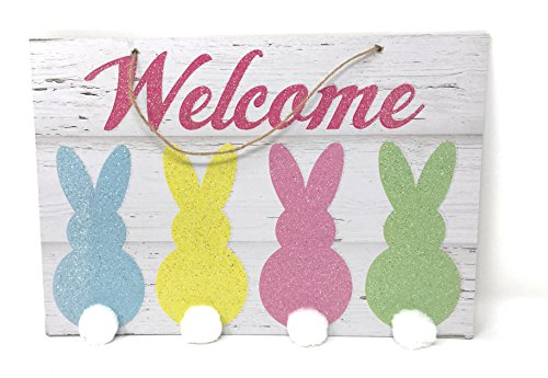 Glittery Easter Bunny Cottontail Themed Hanging Welcome Sign -
