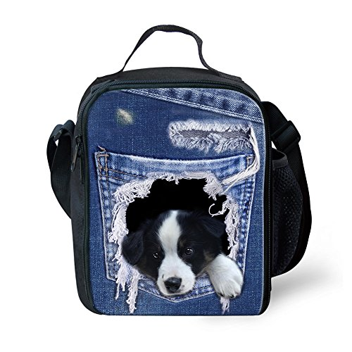 Coloranimal Cooler Warm Thermal Insulated Lunch Purse Border Collie Printed