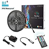 Nexlux LED Strip Lights, 16.4ft Waterproof IP65 5050 SMD RGB LED Flexible Strip Light Black PCB Board Color Changing Decoration Lighting 44 Key RF Remote Controller+ UL Approved Power Adapter